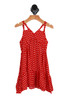 Front shows bright red and white classic polka-dot summer dress with double spaghetti straps.