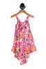 Back shows pink spaghetti strap floral design with v shape bottom of dress.