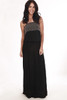 full front shows gold, silver, brown & gunmetal colored beading at top with strapless top, wide elastic band at waist and maxi length. dress is in black