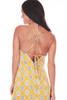 front shows yellow  and white circle patterned  knee length mini dress with spaghetti strap and open back tie with hidden back zipper. Fully Lined.