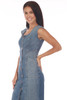 front shows light blue midi dress featuring a rounded neckline with cap sleeves, snap closure at front, hidden zipper at back and super soft & stretchy denim material. Shown worn with tan open toe heels.