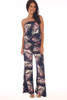 Front shows navy blue tube top jumpsuit with all over palm tree design, an elastic band at top, drop-waist line, wide legs  and stretchy material.