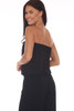 Back shows black jumpsuit with elastic band tube top, drop-waist line, and the stretchy material.