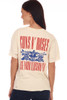 """Back shows vintage-inspired cream colored Guns N' Roses short sleeve tee with Guns N' Roses graphic design at front & """"Use Your Illusion '91"""" at back and slight distressing at hemlines."""