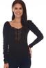 back shows a classy black long sleeve shirt with lace detailing at top back line and deep v. It sits on the shoulder or off, super stretchy rib-knit material.