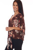 Side shows red wine colored  loose fit kimono-like sleeved blouse with an all-over fall floral print with v-neck line, tie at front bottom.