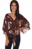 Front shows red wine colored  loose fit kimono-like sleeved blouse with an all-over fall floral print with v-neck line, tie at front bottom.