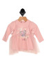 """Front shows pink dress top featuring """"Love your fabulous self"""" printed in gold at front with a pink chiffon tank overlay and long sleeves."""