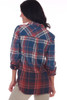 Back shows red and blue Fall inspired plaid blouse featuring extremely soft material & dip-dyed bottom for a more unique look.