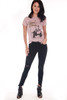 Front shows short sleeve mauve silk tee featuring a David Bowie graphic at front and tour dates printed at back with slight distressing at all hemlines. Shown worn with black jean and open toe heels.