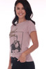 Side shows short sleeve mauve silk tee featuring a David Bowie graphic at front and tour dates printed at back with slight distressing at all hemlines.
