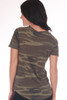 back shows basic short sleeve tee featuring a classic fit with all over camo print & crew neckline.