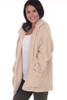 Front shows pearl Fall and Winter sherpa cozy coat featuring two front pockets, a larger collar & over-sized fit.