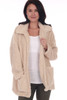 Front shows brown Fall and Winter sherpa cozy coat featuring two front pockets, a larger collar & over-sized fit.