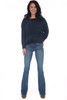 front shows blue bootcut jeans featuring a mid rise with the softest & stretchiest denim material and a bootcut bottom leg