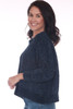 side shows deep blue chenille sweater featuring a slightly cropped hemline with longer sides, a wider fit, long sleeves & the softest chenille material.