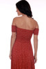 back shows a red and polka dot beautiful holiday dress featuring a smocked top with smocked off the shoulder sleeves, wrap-like bottom skirt and a hi-lo hemline.