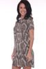 side shows short sleeve mini dress featuring an all over python snake print with back silver zipper, super short hemline and Fully lined.