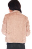 Back is smooth.  Oatmeal colored faux fur waist length coat with small collar, hook and eye closure at top with side pockets.