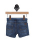 back shows blue denim Bermuda shorts featuring an elastic drawstring waistband with button closure and softest denim material. 2 back pockets.