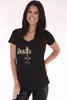 """Santo black tee shirt, shinny image  with """"Santos""""  word  and  cross   design."""