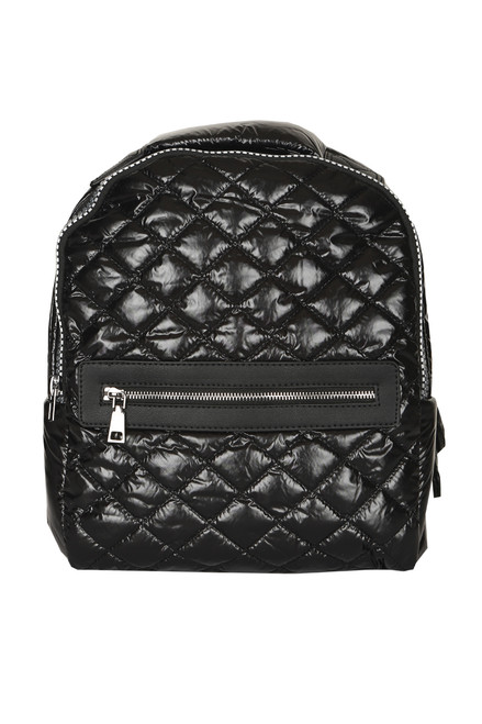 Front shows all black backpack made from smooth water replant nylon adjustable straps, and front zipper.