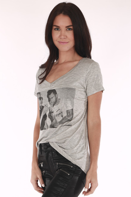 Grey printed Tshirt, v cut