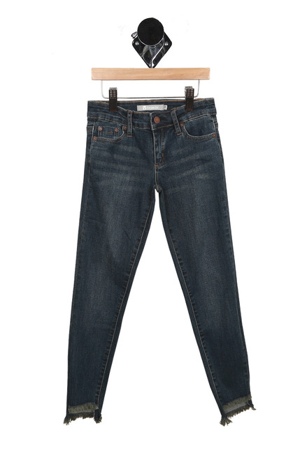front of jeans have zipper and button fly, 2 pockets and bottom raw edge hemline. denim is a dark blue wash.