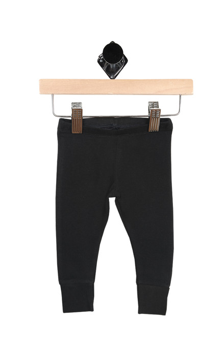 Front  shows  leggings have elastic waist band with cuffed bottom hemline. leggings are all black.