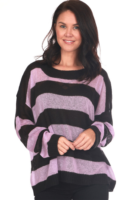Marshmallow Oversized Striped Knit Sweater