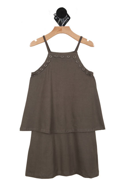 Front shows charcoal colored tier dress with spaghetti straps