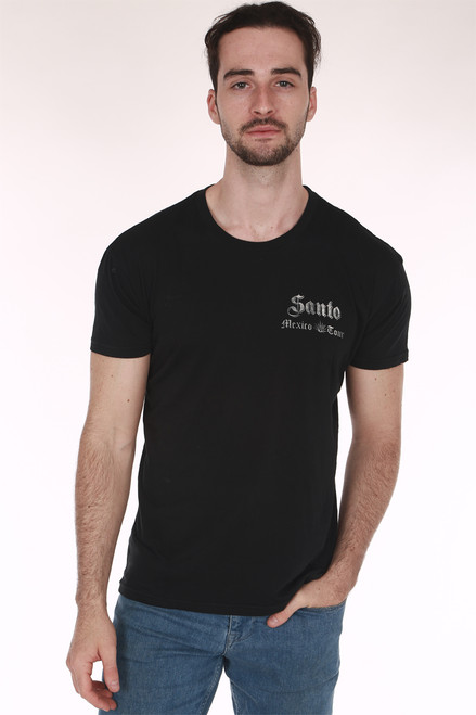 Black shirt, with list of cities, crew neck