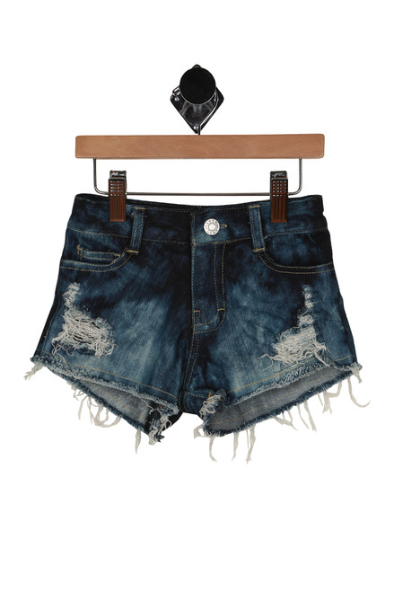 Faded Denim Shorts w/ Meshing (Little Kid)