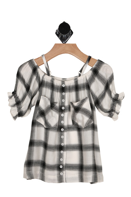 Plaid Off The Shoulder Top w/ Straps (Little Kid)