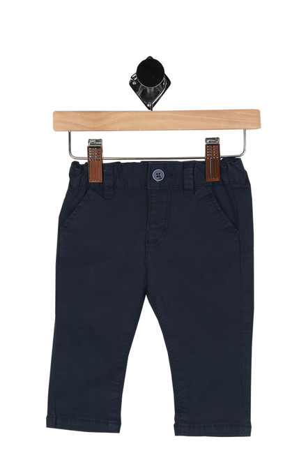 Front shows dark navy blue trousers with elastic waistband with 2 pockets, button front and classic trouser fit.