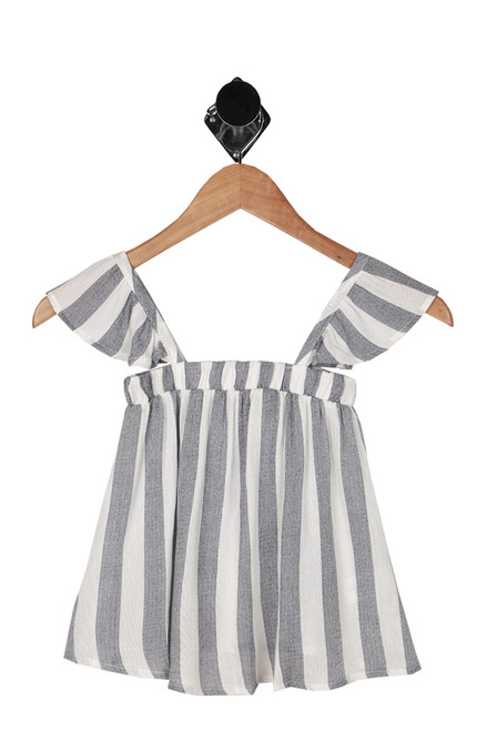 front shows print in vertical white and blue stripes with ruffle tank sleeves and flow at bottom.