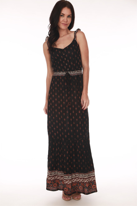 Nocturnal Ruffle Sleeve Maxi Dress