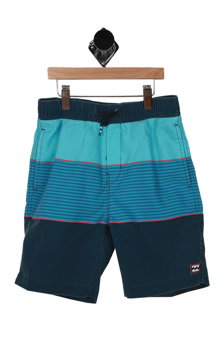 front shows teal, blue and navy horizontal stripe pattern swim trunks with elastic band with drawstring at top and 2 pockets.