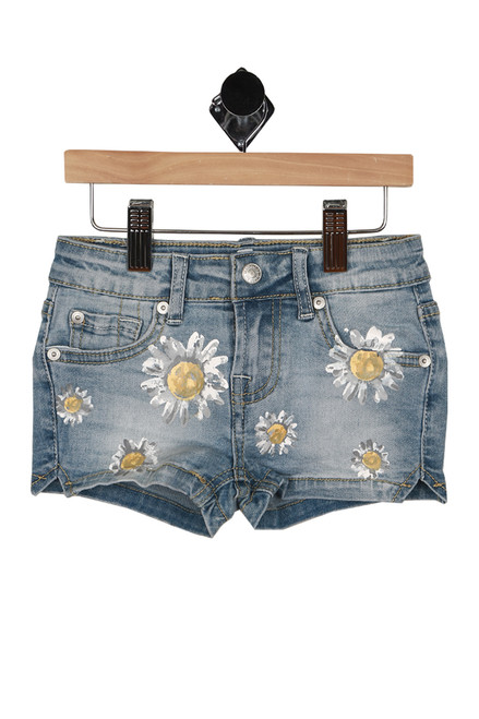 front shows zipper and snap closure with painted daisies all over front and pockets.