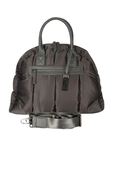 front shows bag in a dark grey color with front zipper, smaller handles and detachable shoulder strap
