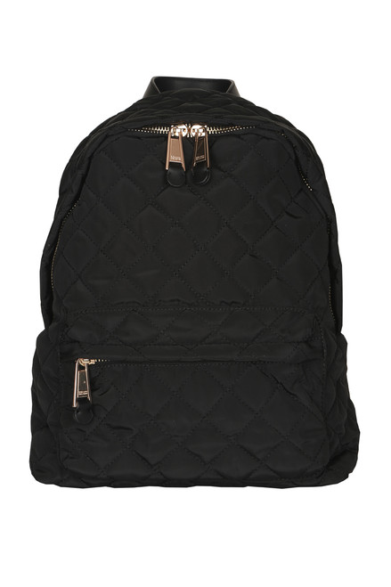 front shows black quilted material with gold large zipper opening and front lower zipper opening