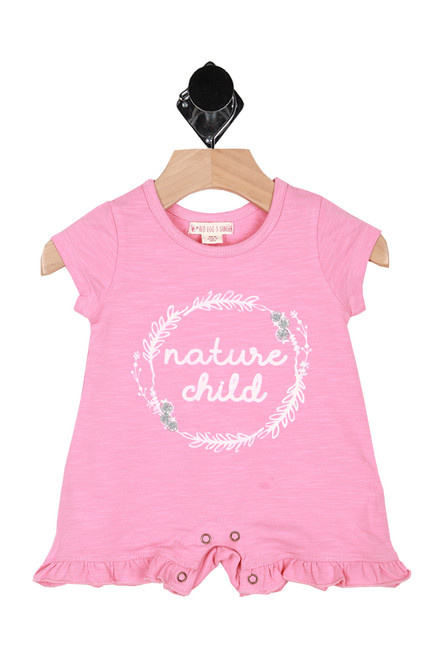 """Front shows pink short sleeve romper with the words """"Nature Child""""written in white."""