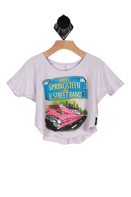 Front shows light grey cut off short sleeve Bruce Springsteen Band Tee with car and license plate design.