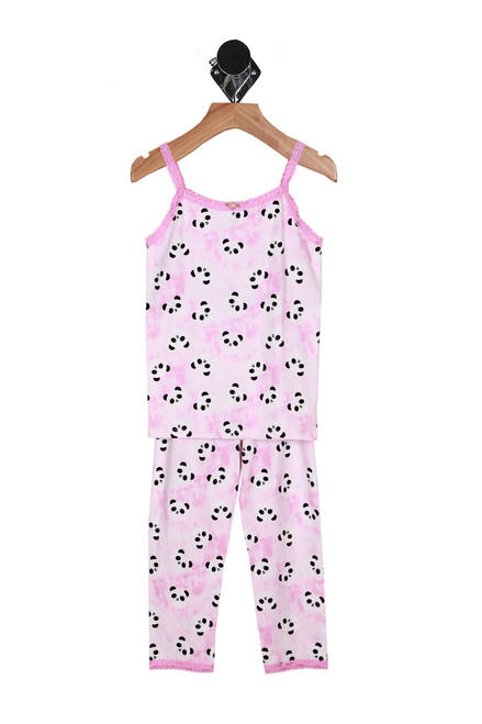 Front shows pink two piece matching pajama set with panda patterns all over.