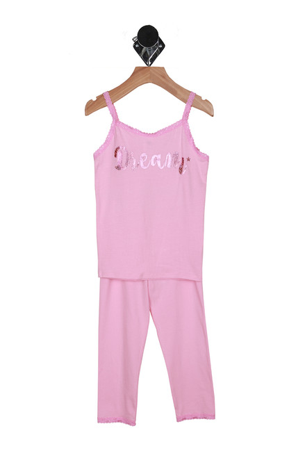 "Front shows pink spaghetti strap pajama top with the word ""dream"" written on shirt with matching pajama pants."