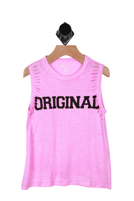 "Front shows pink tank with the word ""original"" written in black."