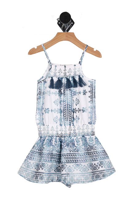 Front shows one piece romper with multi blue and crochet patterns. Fridge hanging from top.