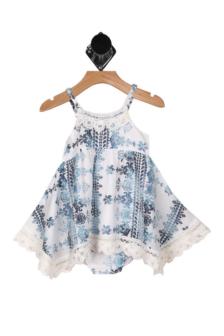 Front shows white and blue multi print spaghetti strap top with matching bloomers.