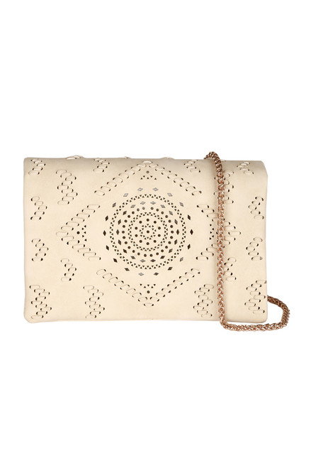 Front shows ivory crochet designed cross body clutch purse with gold braided strap.