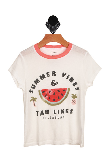 "white ringer-style tee with peach neckline, says ""SUMMER VIBES & TAN LINES"" with watermelon image printed at front."